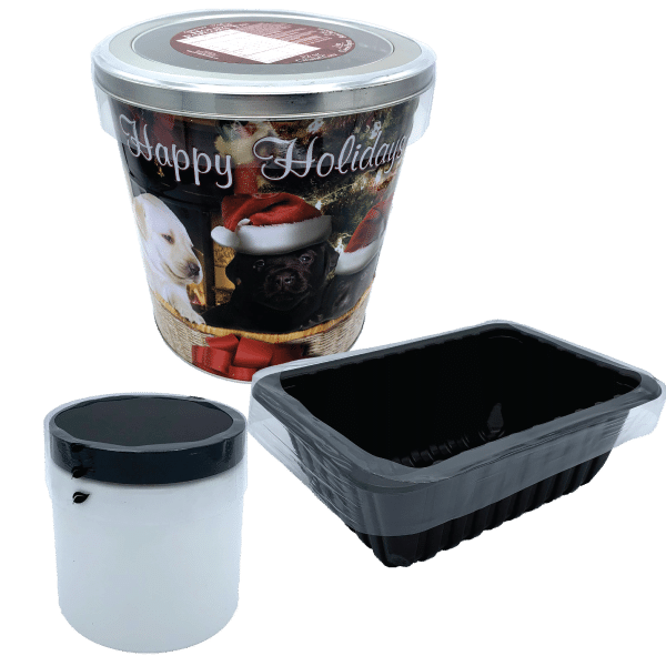 Bass Flexible Packaging preform plastic on popcorn tin, rectangle and circular container